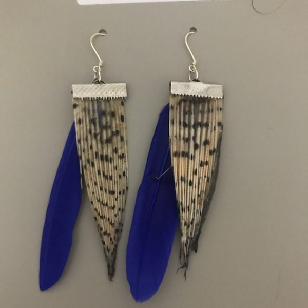 Lionfish earrings with blue feathers