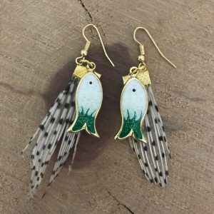 Lionfish earrings with white fish charms