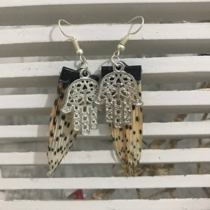 Lionfish earrings with hand of Fatima good luck charm