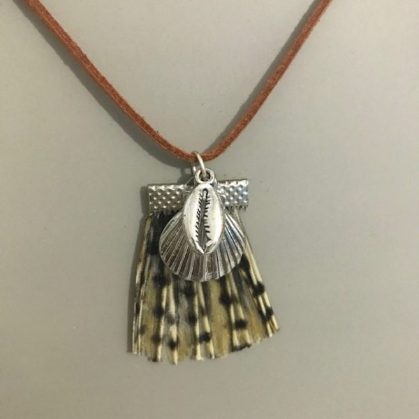 Lionfish tail pendant with shell charms